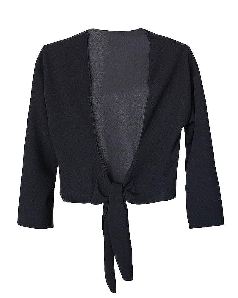 Quge Coprispalle Donna Basic Maniche Lunghe Bolero Comodo Aperto Leggero Cardigan Wrap Top