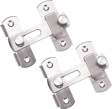 Tiberham - Cerrojo de seguridad para puerta corredera de acero inoxidable (2 unidades): Amazon.es: Bricolaje y herramientas