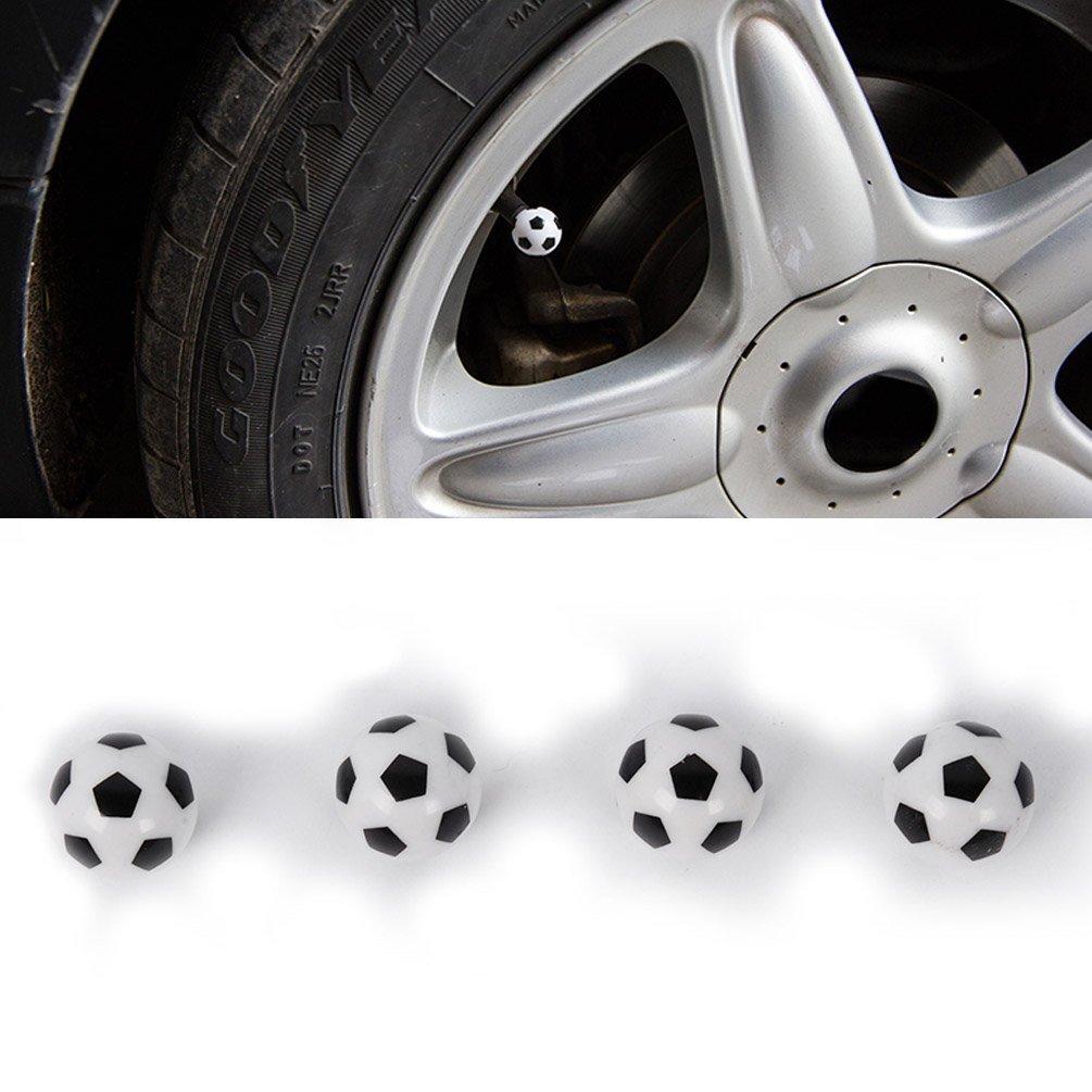 4Pcs//Lot Dsycar Stylish Football Valve Caps Bike Motorcycle Car Tires Wheel Valve Stem Dust Caps for Car styling Decoration