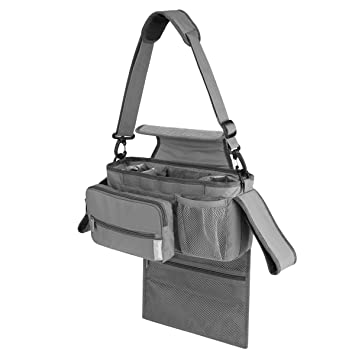 Baby Stroller Organizer with Insulated Cup Holder Tissue Pocket Universal Fit for All Strollers Multiple Pockets Hanging Stroller Organizer(Grey