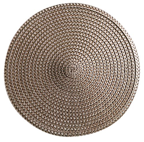 Set of 12 pieces Polyproplene Braid Woven Round Placemats/Place Mats 15 Inches (Brown) (Brown Round Woven Placemats)