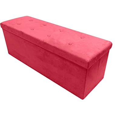 Sorbus Storage Ottoman Bench – Collapsible/Folding Bench Chest with Cover – Perfect Toy and Shoe Chest, Hope Chest, Pouffe Ottoman, Seat, Foot Rest, – Contemporary Faux Suede (Large-Bench, Red)