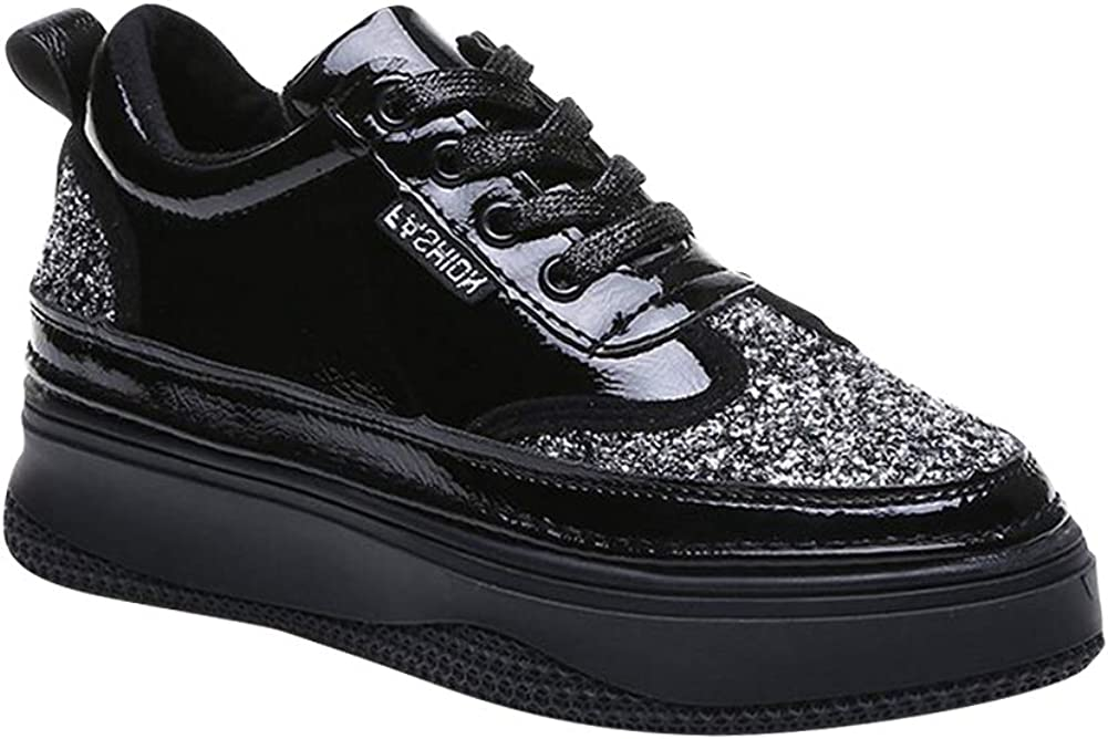 Platform Mid Wedge Hidden Heels Casual Lace up Sneakers Glitter Sequin Round Toe Solid Chunky uirend Shoes Women Trainers