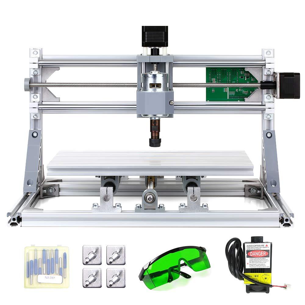 KKmoon 300 x 180 x 45 mm DIY Router Kit 2-en-1 M/áquina de grabado l/áser GRBL Control 3 Ejes para PCB PVC Pl/ástico Acr/ílico Talla de madera M/áquina de grabado de fresado con boquilla ER11