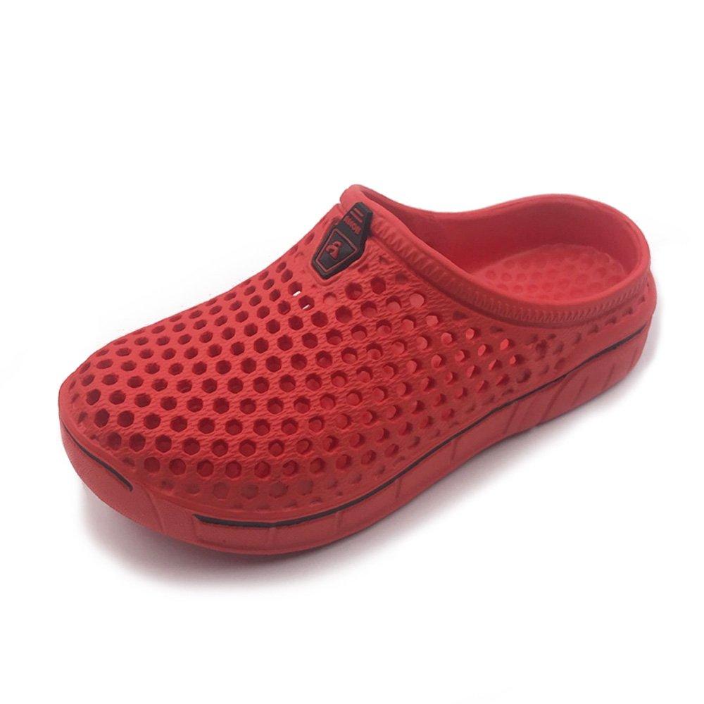 Amoji Garden Clogs Shoes Sandals House Slippers Home Indoor Beach Water Outdoor Shower Summer Lightweight Quick Dry Child Children Boys Girls (Toddler/Little Kid/Big Kid) Red 6-7 M US Big Kid