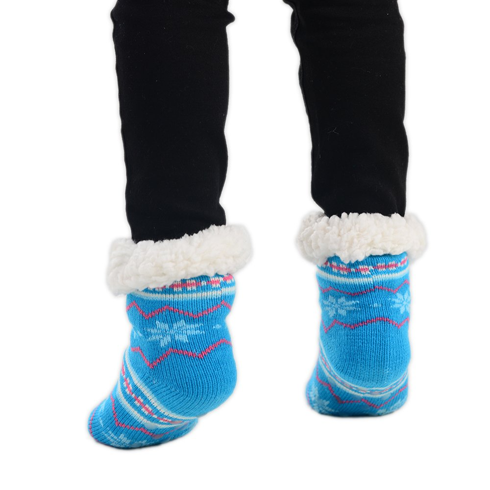Boys Girls Fuzzy Fairisle Socks Christmas Cotton Winter Slipper Socks in 3 Colours UK Size 9-12