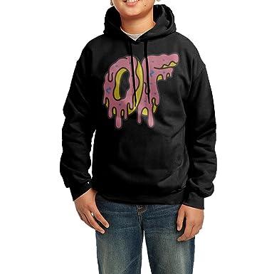 58966fde6964 TMDING Youth s Odd Future OF Donut Logo Hooded Sweatshirt Black M