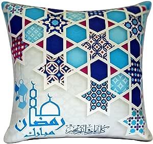 خدادية رمضان كريم مخدة 47 سم فى 47 سم خدادية قماش برنت شوب وحشو الوسادة فايبر سوفت المخدة بسوستة