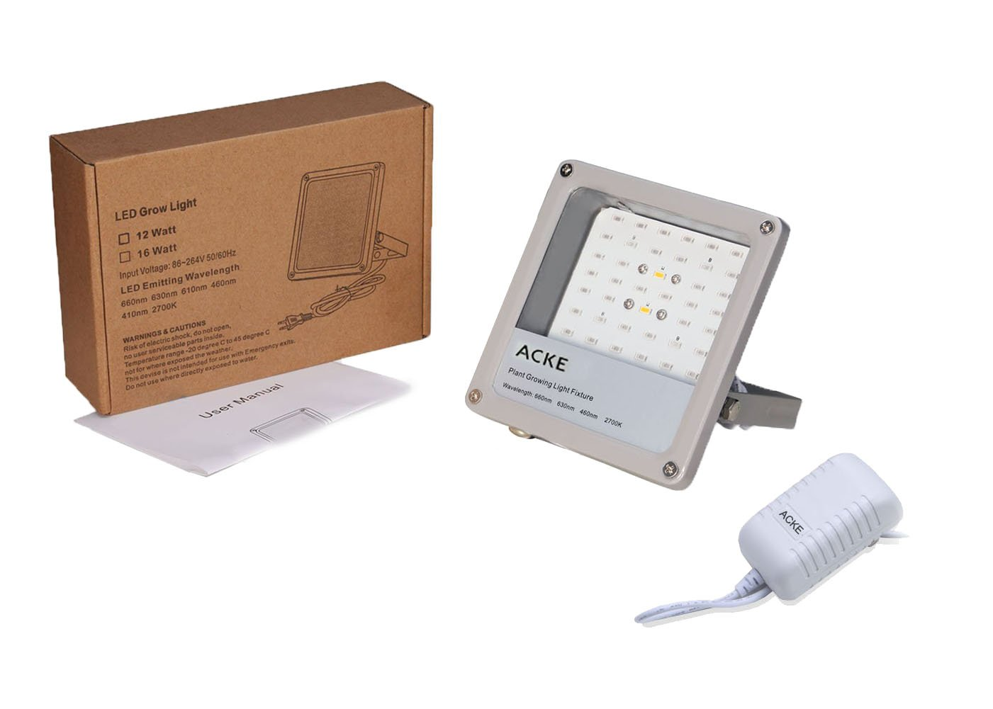 ACKE LED Grow Lights Full Spectrum,Plant Lights,Growing lamps 12W for Indoor plants,Hydropoincs by ACKE (Image #6)