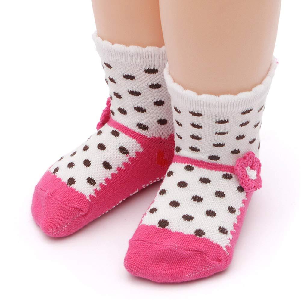 Rosa 3-5 Jahre Yafane 12 Paar Baby S/öcken Sock Kinder ABS Antirutsch S/öcken Baumwolle M/ädchen Babys/öcken 1-5 Jahre