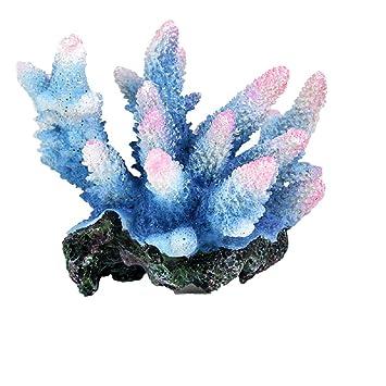 JUZIPI Decoración para Acuario con Acuario, Color Azul y Rosa, Decoración para pecera y