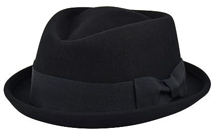 3eb56bae Image Unavailable. Image not available for. Color: Diamond Top Crushable Men's  Felt Wool Fedora Porkpie Stingy Brim Hat ...