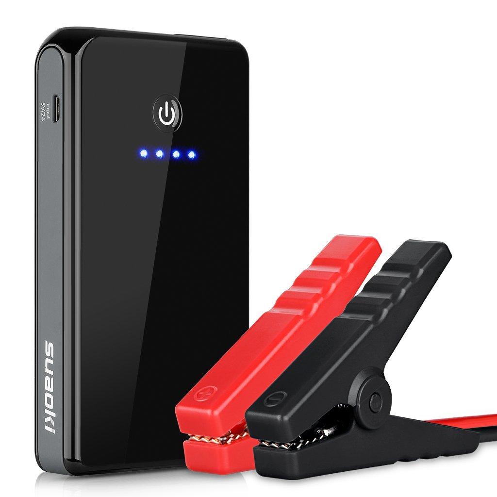 SUAOKI K12 300A Peak 8000mAh Booster Batterie Portable Booster de Dé marrage Dé marreur de Voiture et Batterie Externe pour des Tablettes et Smartphone avec Lampe de Poche LED(Noir)