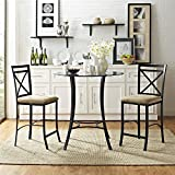 Dorel Living Valerie 3 piece Counter Height Glass and Metal Dining Set, Black / Beige