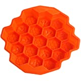 KISEER Large Honeycomb Silicone Soap Mold | 19-Hole Baking Cake Mold Bakeware for Family or Friends Party (Orange, 12…