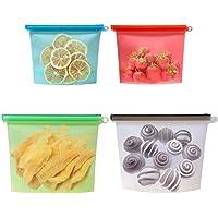 Saim Food Storage Bag Reusable Kitchen Freezer Food Storage Bags Set Safe Eco Friendly Silicone For Microwave Freezer…