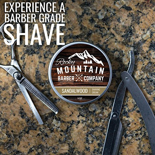 Shaving Cream for Men – With Natural Sandalwood Essential Oil – 5 oz Hydrating, Anti-inflammatory Rich & Thick Lather for Sensitive Skin & All Skin Types by Rocky Mountain Barber Company – 5 Ounce by Rocky Mountain Barber Company (Image #3)