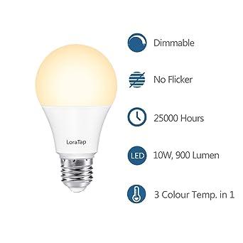 LoraTap Juego Bombilla Luz Lámpara LED E27 Regulable Dimmable Control Remoto Inalámbrico (Lámpara LED E27