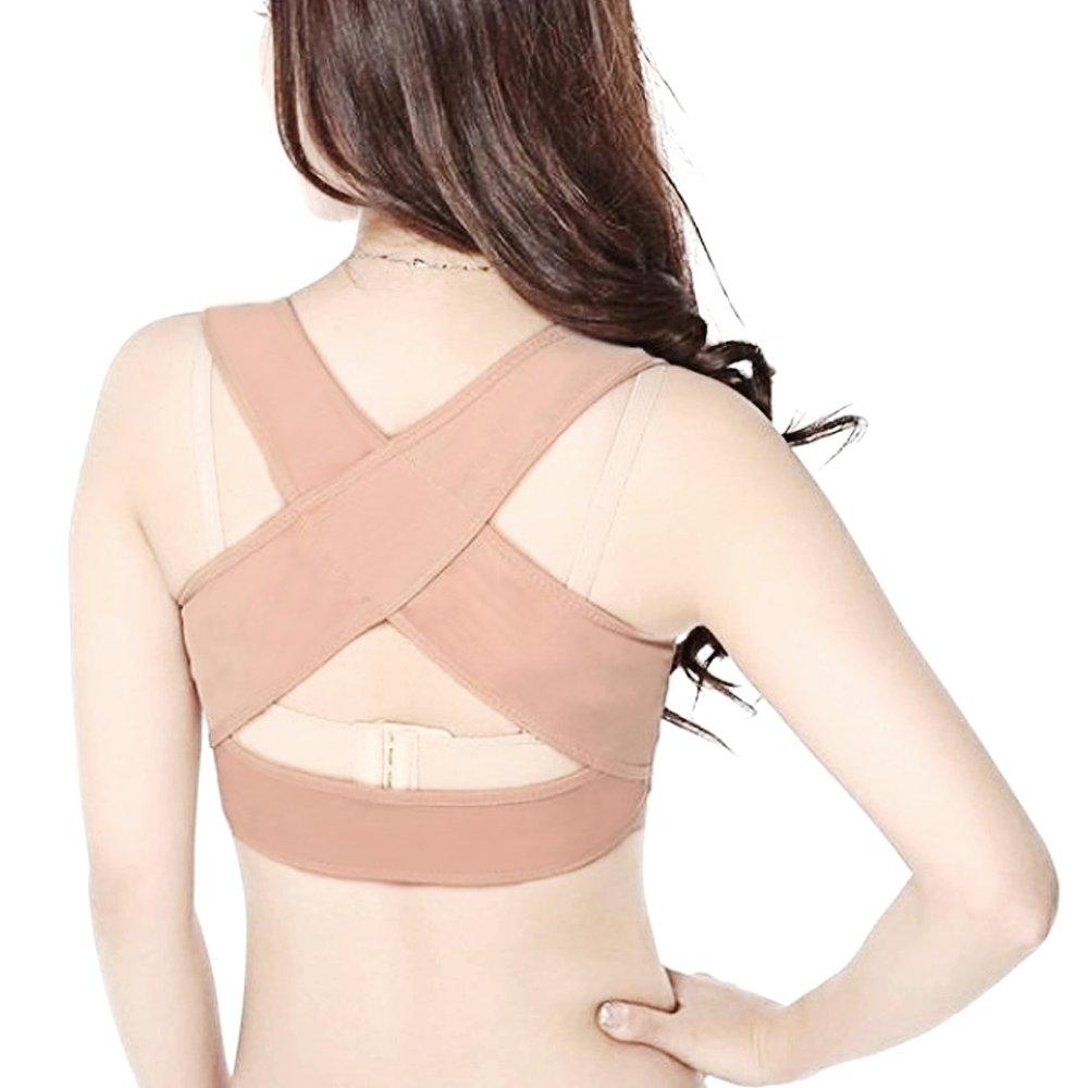 Women Lady Adjustable Personal Posture Corrector Chest Brace Corset Bra Breast Support Strap Body Sculpting Belt Back Shoulder X Strap Vest Beige M Gosear
