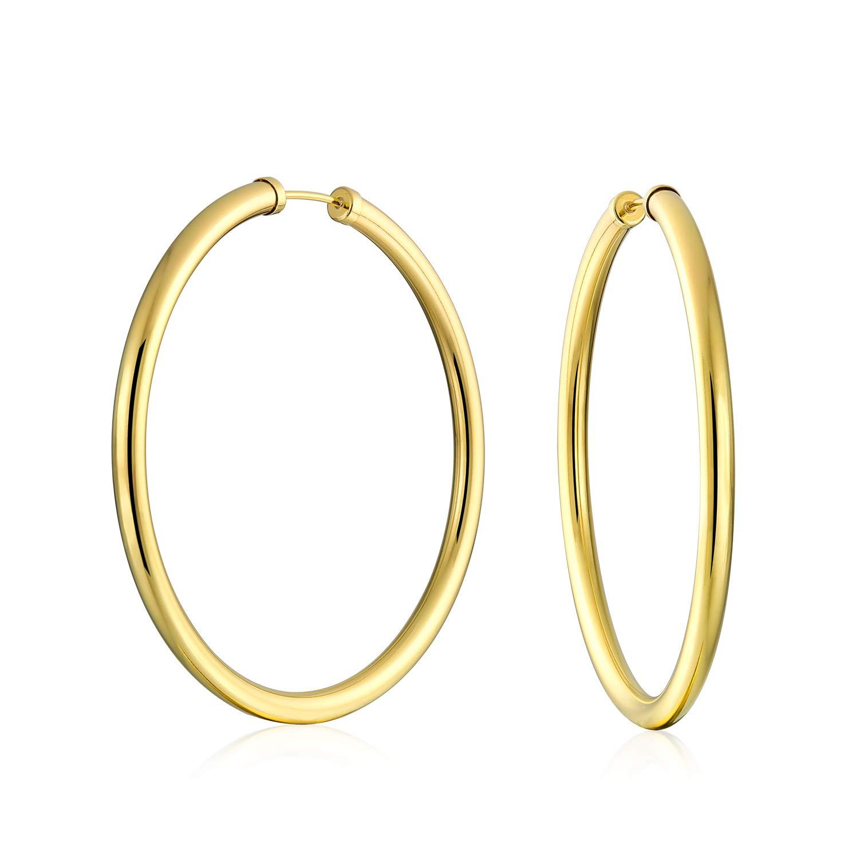 10K Yellow Gold Filled Classic High-Polish Seamless'Endless Loop' Hoop Earrings Bling Jewelry SSTR-GF-120-2