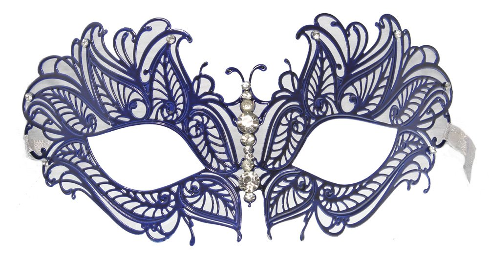 RedSkyTrader Womens Jeweled Laser Cut Masquerade Mask One Size Fits Most Blue