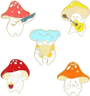 QIHOO Enamel Pin Brooches Cute Mushroom Lapel Badge Cartoon Plant Enamel Pin Set for Backpack Cloths Hats Funny Button Pins Jewelry Set