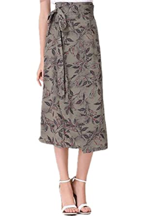 bbd34d5e77 NENGWENWU New Summer Floral Skirt Women Linen Long Skirts Asymmetrical Lace  Up Skirt Black Red Orange Army Green at Amazon Women's Clothing store: