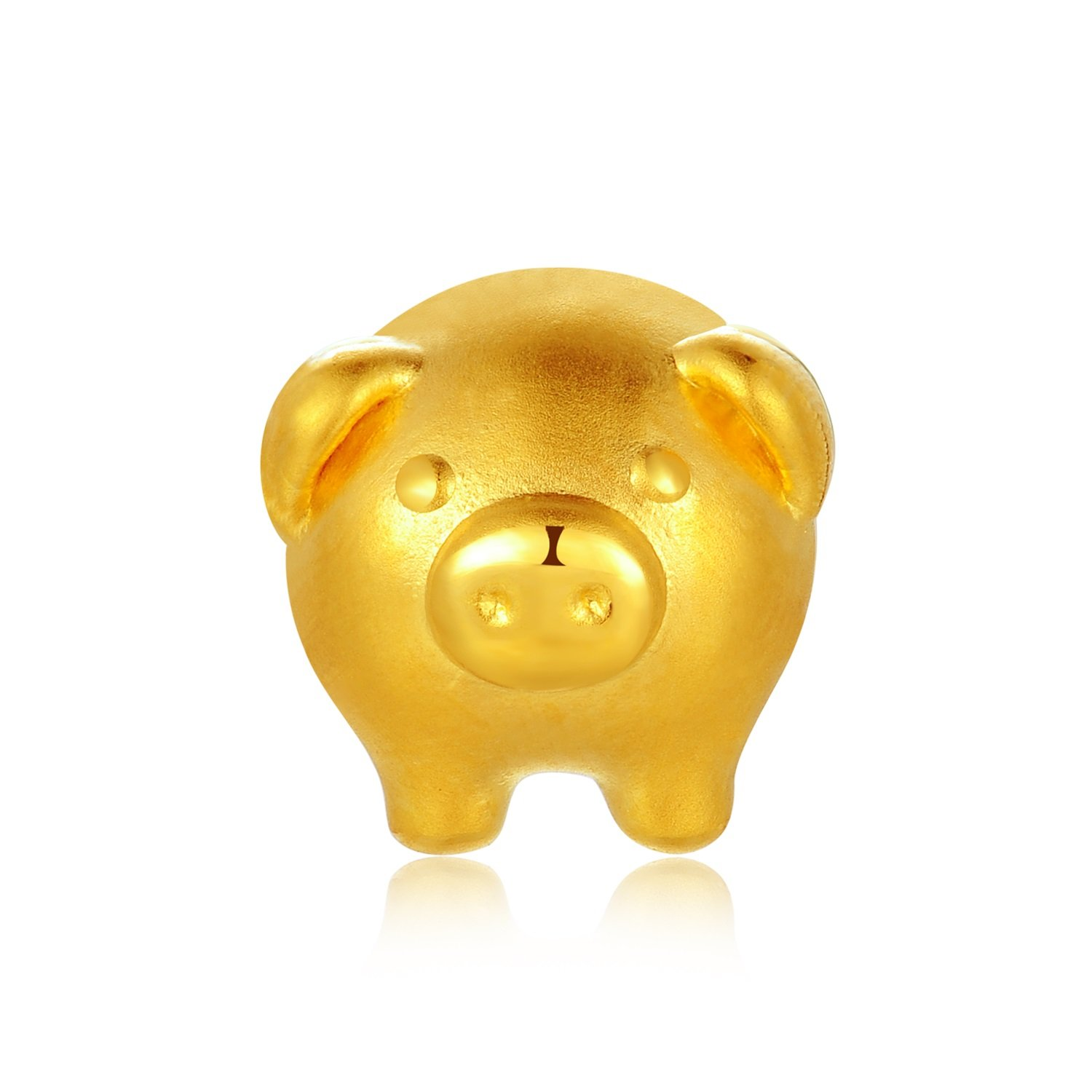 MaBelle 24K Gold Baby Fortune Charm Piggy Pig (Bracelet Chain Not Included), Gift For Newborn Baby Boys and Girls