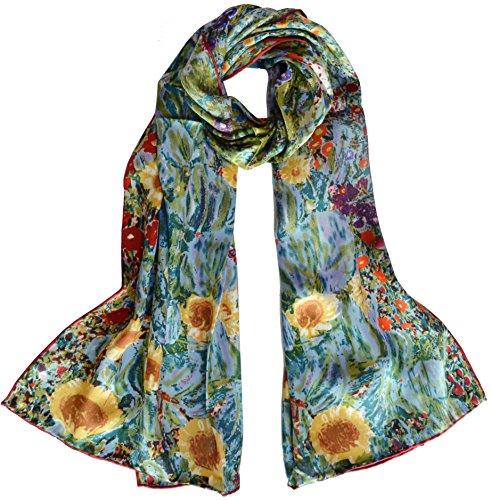 Van Gogh and Claude Monets Paintings, Elegant Luxury Fashion Silk Scarf Premium Shawl Wrap Art (Gustav Klimt-Farm Garden with Sunflowers)