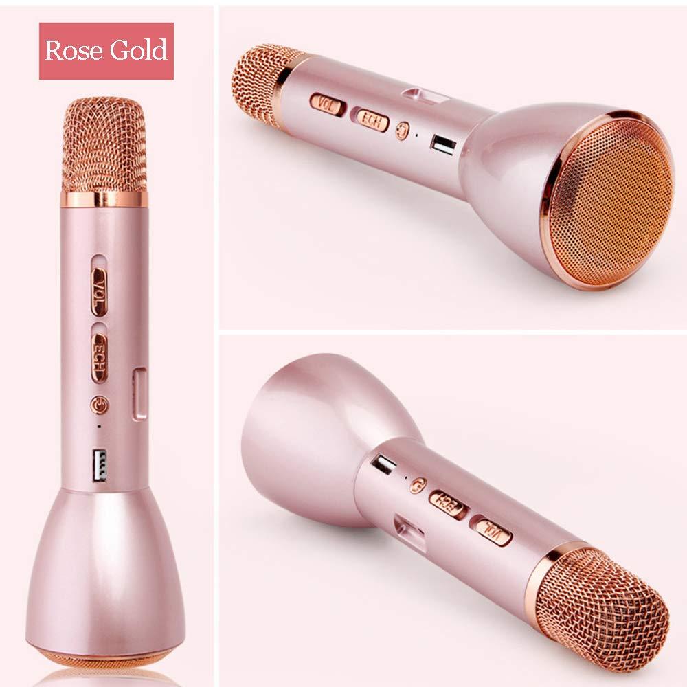 LKJCZ Magic Karaoke Micropone K-Song Microfono Portatile Senza Fili Bluetooth Con Altoparlante Bluetooth Outdoor KTV,Gold