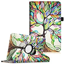 Fintie Samsung Galaxy Tab E 9.6 Rotating Case - Premium PU Leather 360 Degree Rotating Cover Swivel Stand for Samsung Tab E Wi-Fi / Tab E Nook / Tab E Verizon 9.6-Inch Tablet, Love Tree
