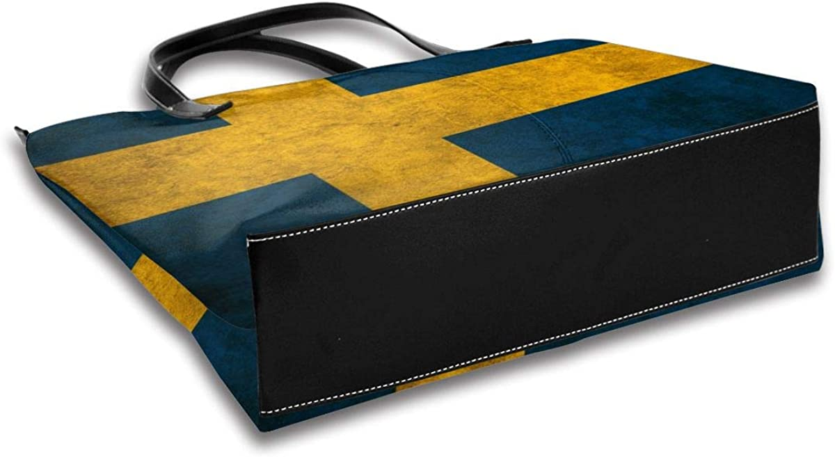 Flag Of The Sweden Handbags For Women Fashion Ladies PU Leather Top Handle Satchel Shoulder Tote Bags-Large Capacity