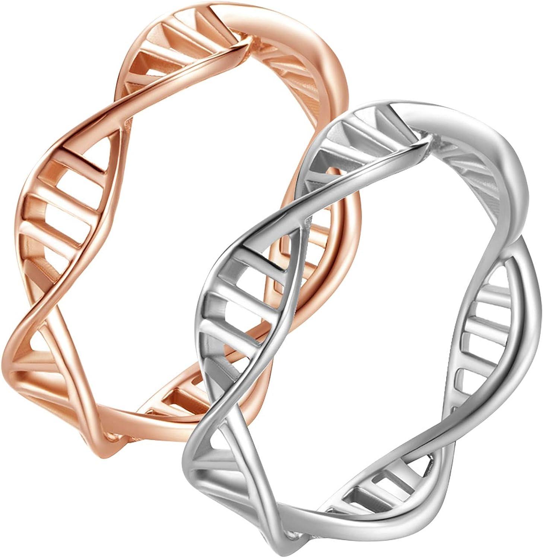 AmDxD Anillos de Bodas Acero Inoxidable DNA Modelo Anillo para Boda para La Pareja Oro Rosa&Plata Anillo