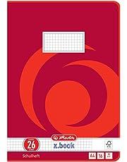 Herlitz 3322609 Schulheft  (A4, kariert mit Rand, Lineatur 26) 16 Blatt,  10er Packung