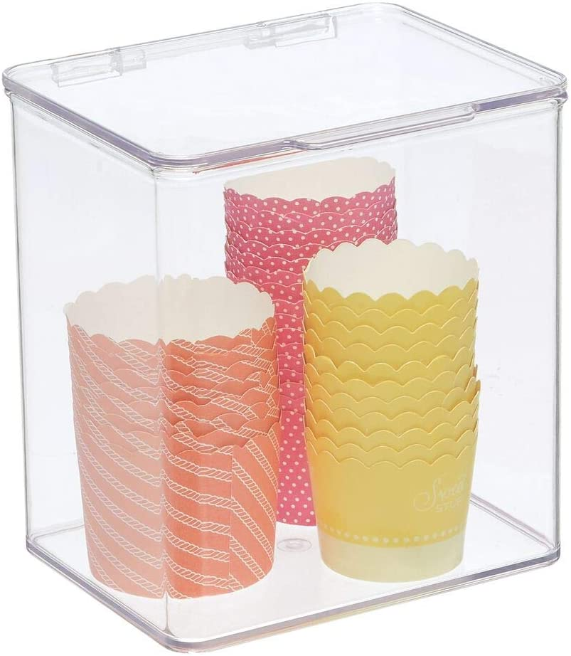 mDesign Plastic Stackable Kitchen Pantry Cabinet/Refrigerator Food Storage Container Bin Box with Lid - Organizer and Holder for Packets, Snacks, Fruits, Produce, Pasta - Clear