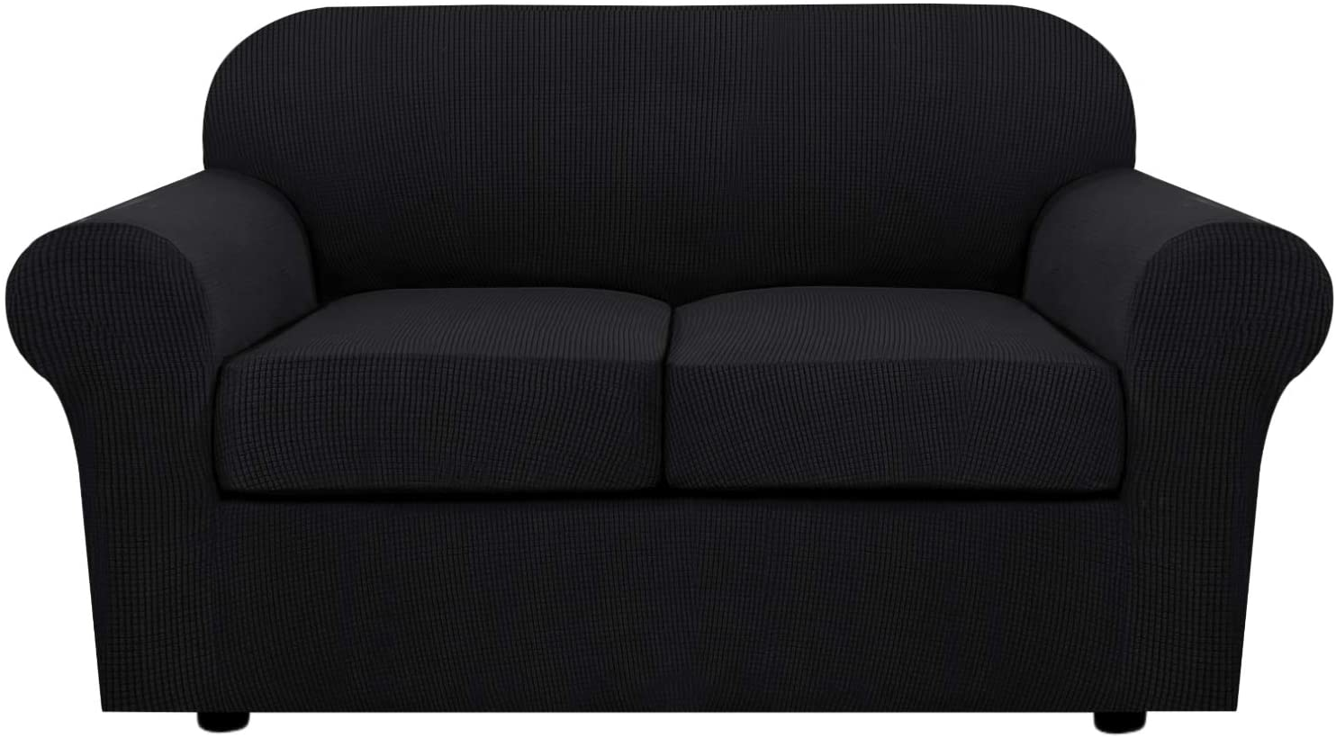 3 Piece Stretch Sofa Covers for 2 Cushion Couch Loveseat Covers for Living Furniture Slipcovers (Base Cover Plus 2 Seat Cushion Covers) Feature Upgraded Thicker Jacquard Fabric (Loveseat, Black)
