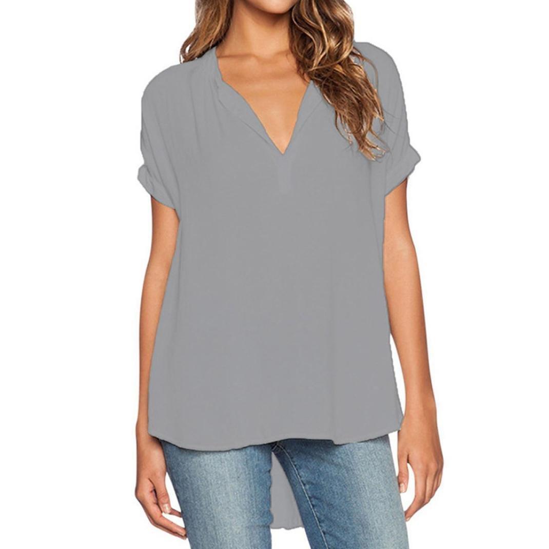 Yeamile💋💝 Camiseta de Mujer Tops Suelto Blusa Causal Camisetas Ocasionales Moda Camisetas Naranja de Verano para Mujer Tops Negro con Cuello en V (Naranja ...