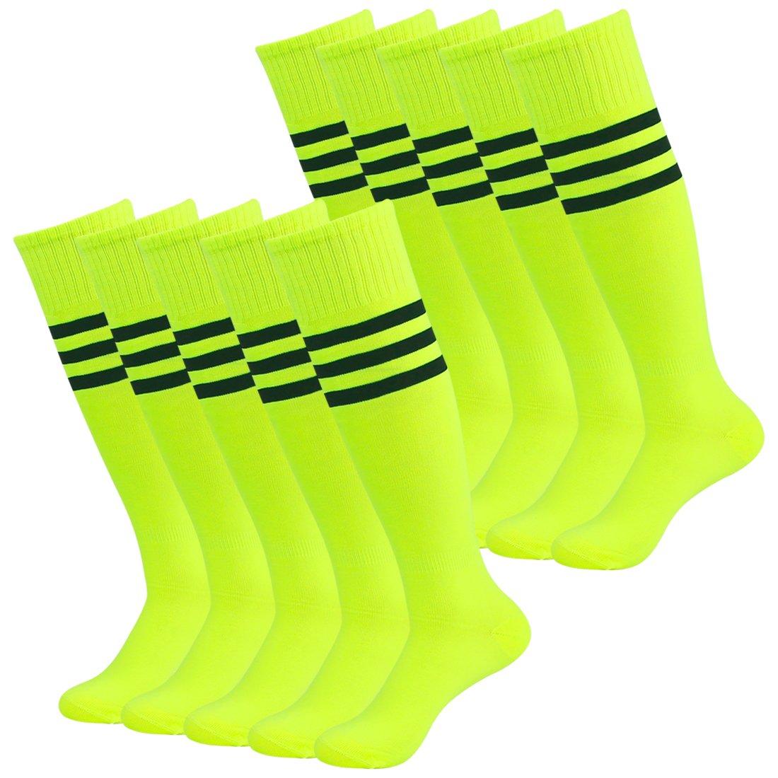 Fasoar Men's Women's Triple Stripe Knee High Soccer Tube Socks 10 Pack Fluorescence Green by Fasoar