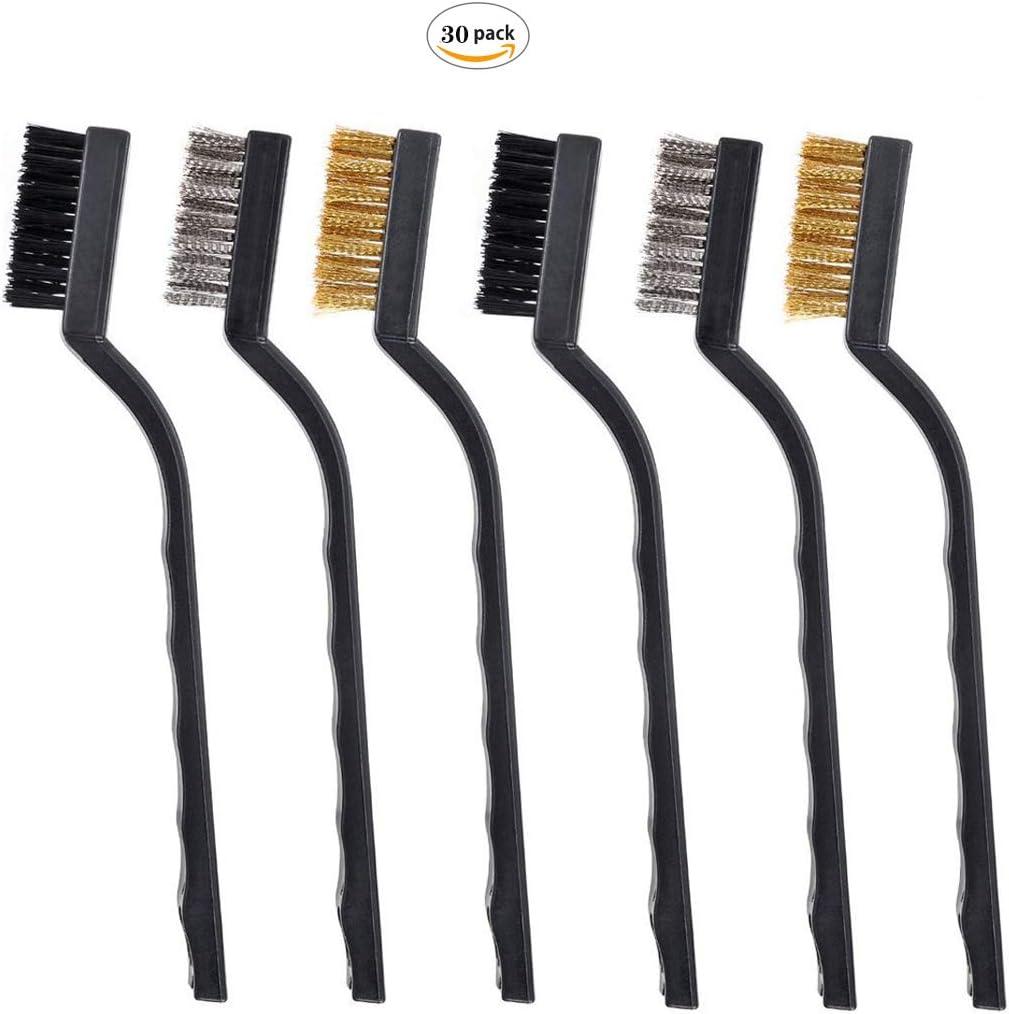 Dancepandas Brosse M/étallique 30PCS Wire Brush Set Brosse De Nettoyage Pour Le Nettoyage Des Scories Et De La Rouille De Soudure Nylon, laiton, acier inoxydable