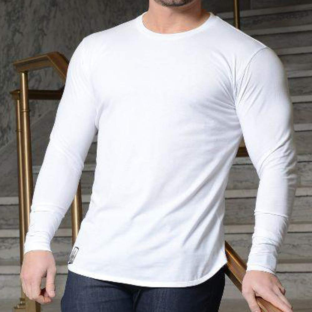 Mymyguoe Hombres otoño Invierno algodón Camiseta Deporte ...