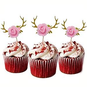 Flower Cupcake toppers, HOKPA Glitter Deer Antler Cupcake toppers for Baby Shower Kids Birthday Party Decor (10pcs Golden)