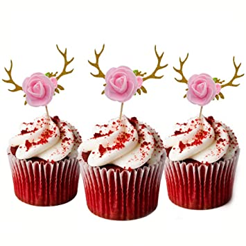 HZOnline Glitter Deer Flowers Cupcake Toppers Muffin Cake Food Picks Christmas Xmas Baby Shower Kids