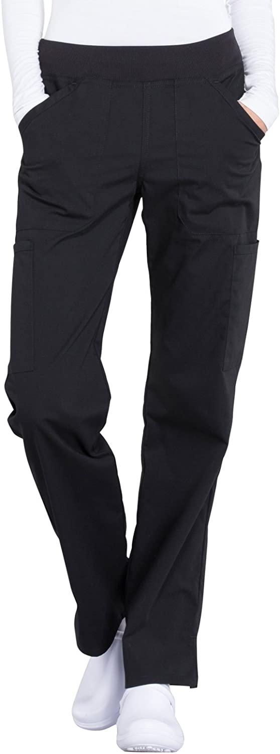 Cherokee Workwear Professionals Mid Rise Straight Leg Pull-on Cargo Scrub Pant: Clothing