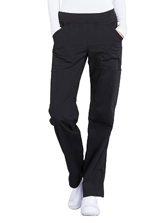 0646bbadaaa Cherokee WW Professionals WW170 Mid Rise Straight Leg Pull-On Pant Black  XXS Petite