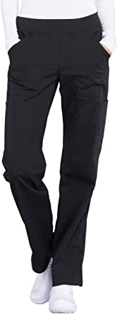 Cherokee WW Professionals WW170 Mid Rise Straight Leg Pull-On Pant Black M Petite