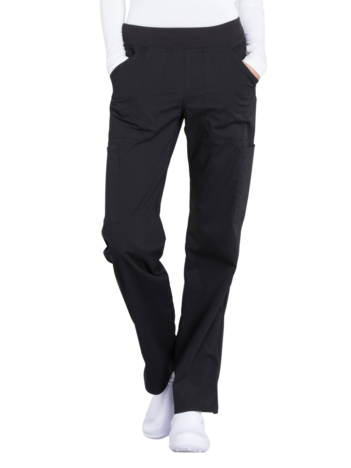 Cherokee Professionals Workwear Women's Elastic Waistband Pull On Cargo Scrub Pant Medium Petite Black