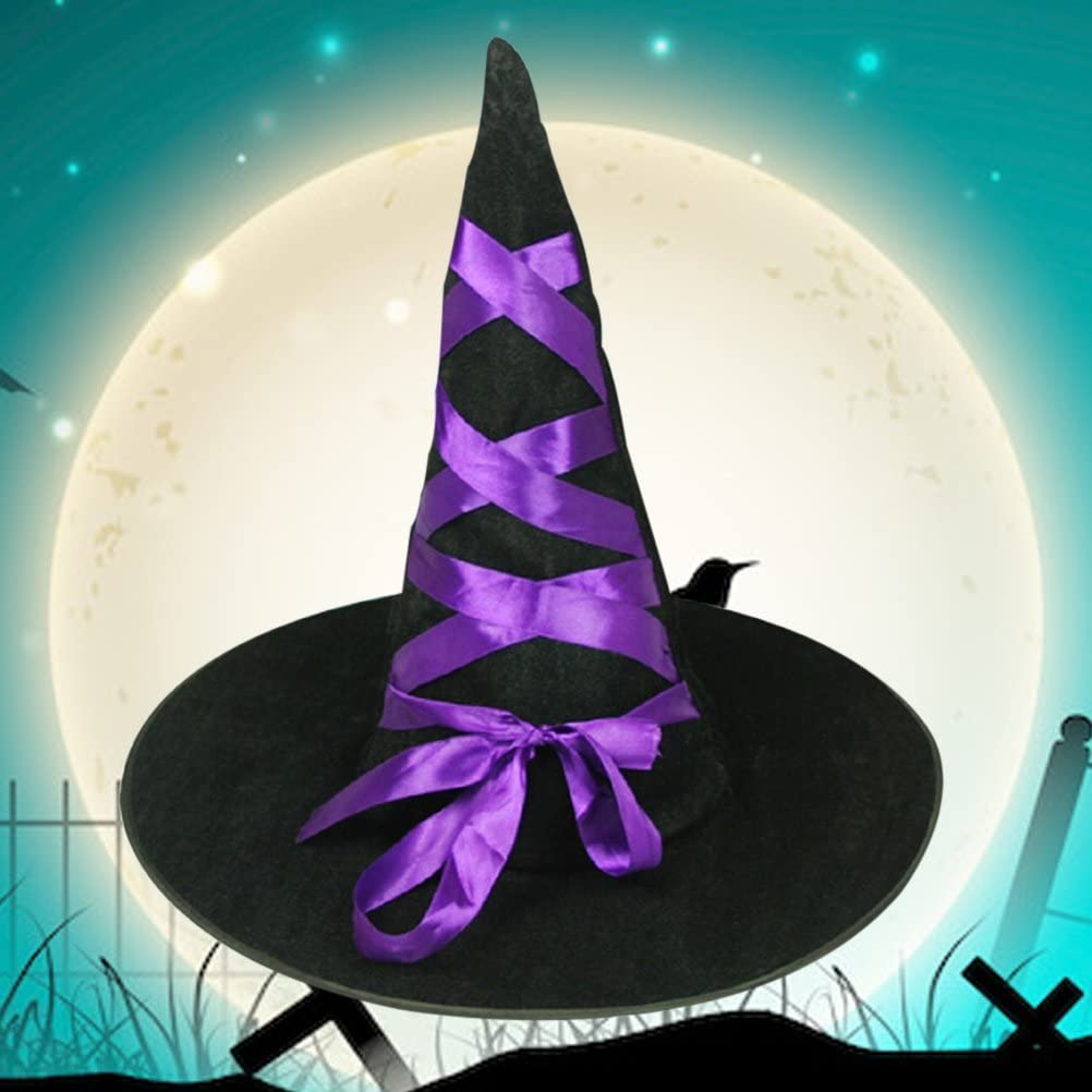 Amosfun Sombrero de Bruja Disfraces de Halloween SNIP Toe Sombreros de Bruja Cinta de Franela de Mascarada Festive Party P/úrpura