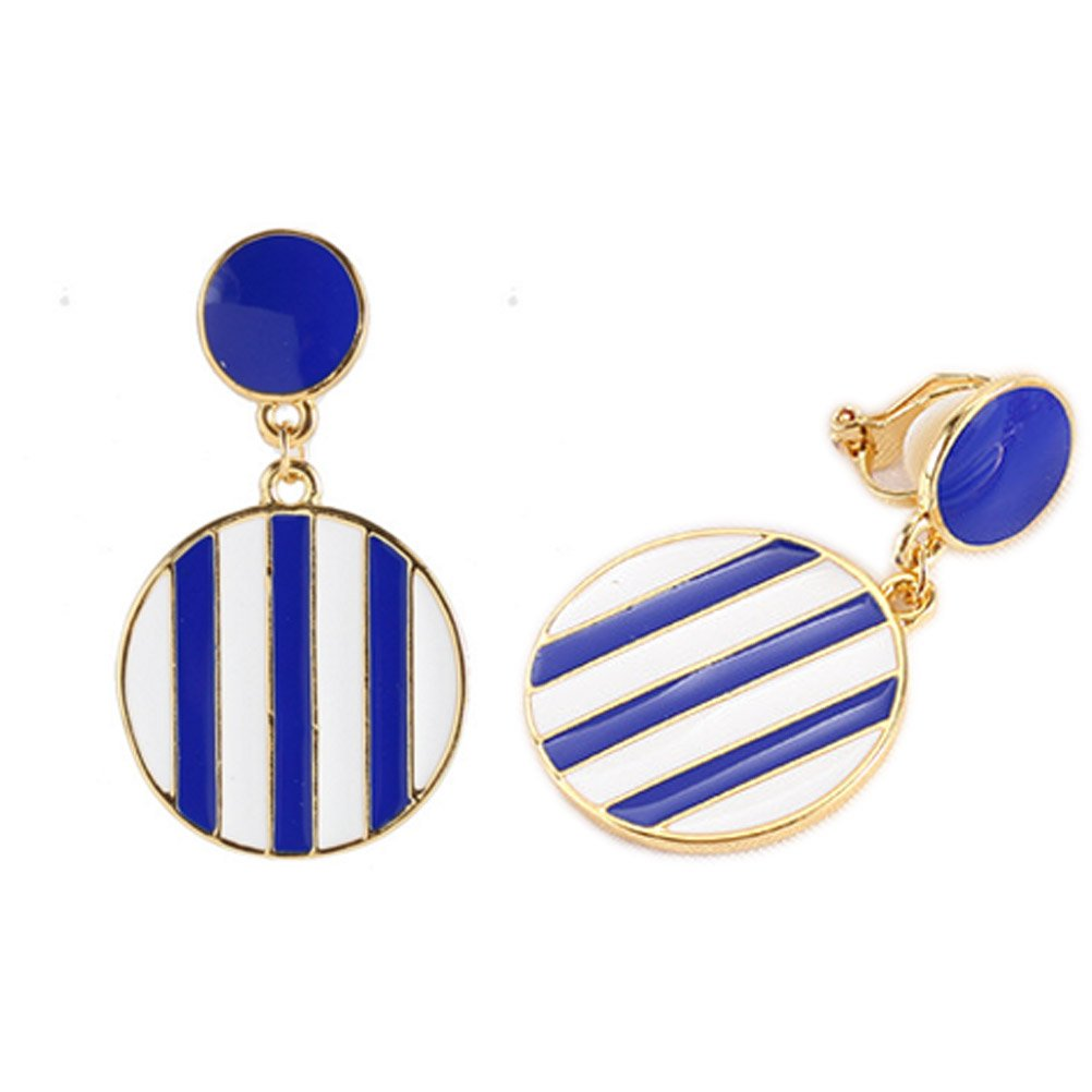Double Round Blue Stripe Soft Rubber Back Clip on Earring Clips for non Pierced Enamel for Women