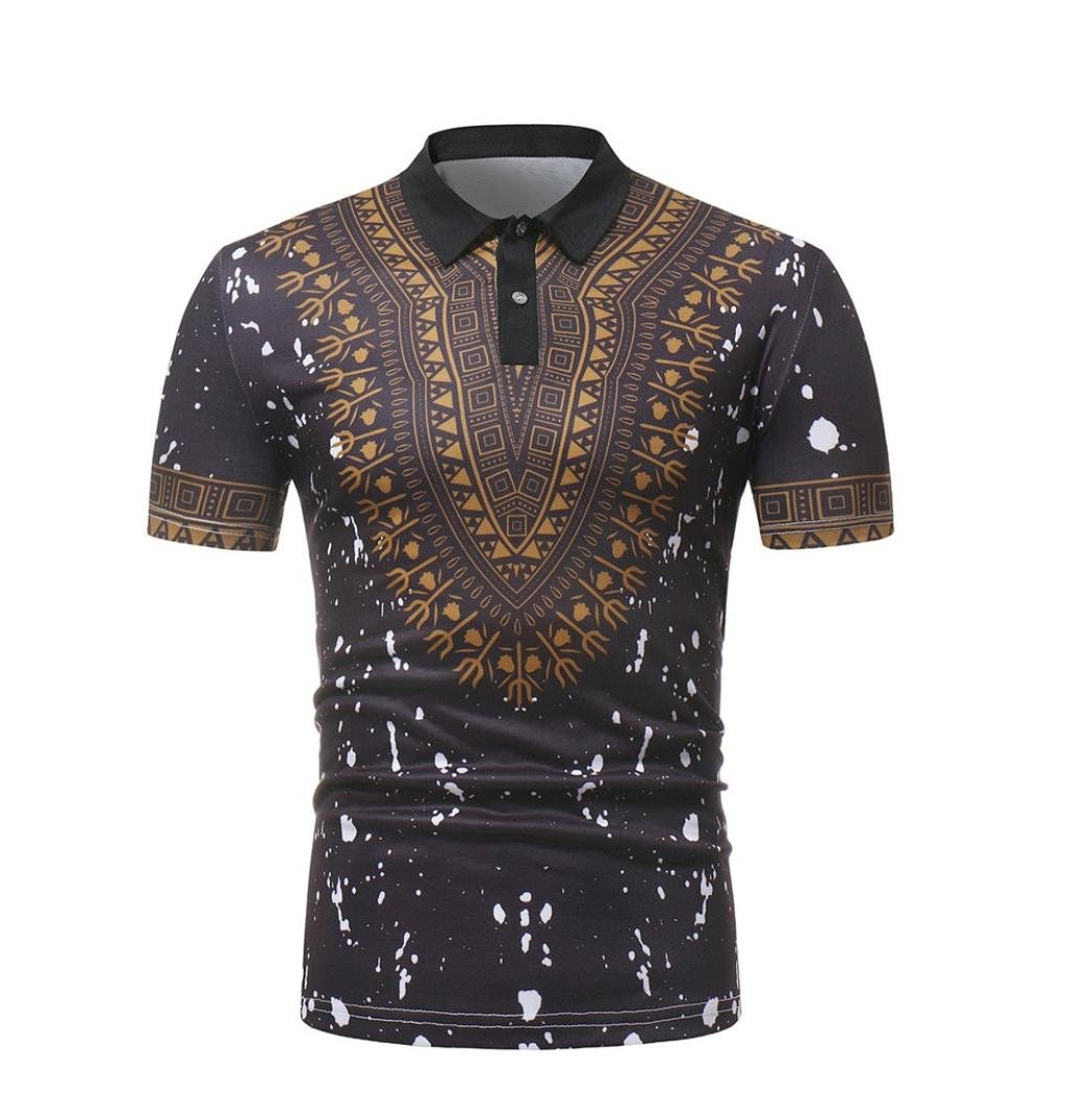 Vanvler Men African Print Tops, Male [ Long Sleeve Dashiki ] Casual T-shirt Pullover Blouse