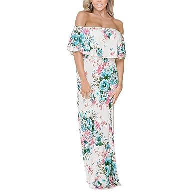 2d0edd0e3bd6b7 Amphia Damen Bandeau Kleid Strandkeid Sommerkleid Blumen Druck Maxikleid  (Weiß